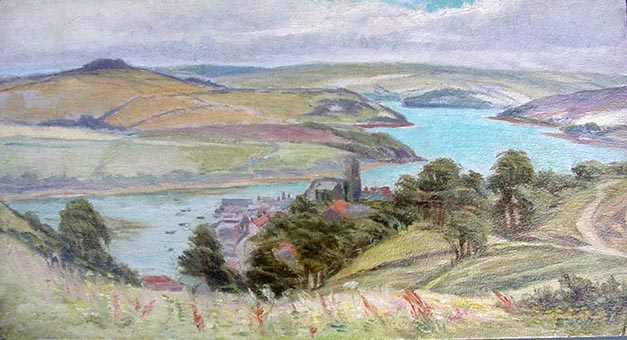 Salcombe Antique Painting by Whyte Holdich