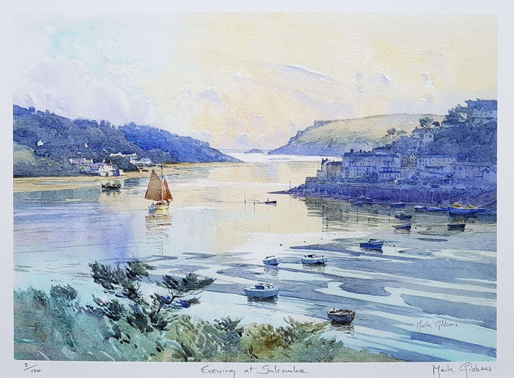 Evening at Salcombe limited edition print for sale