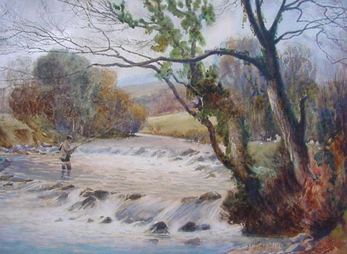 Antique watercolour - Fly Fishing 1907 - Sam Garrett