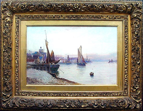 Antique watercolour picture by James Henry Sampson - Boats in a Harbour