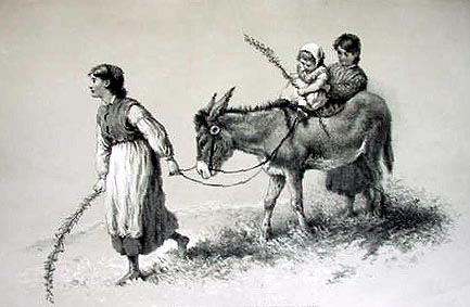 Antique Print  - Children leading a donkey