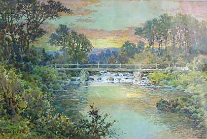 Riverscene antique water color by Arthur Suker