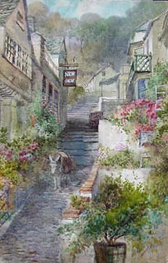 W H  Sweet - watercolour picture of Clovelly