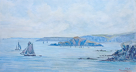 Antique watercolour of Thurlestone and Burgh Island from Thurlestone for Sale