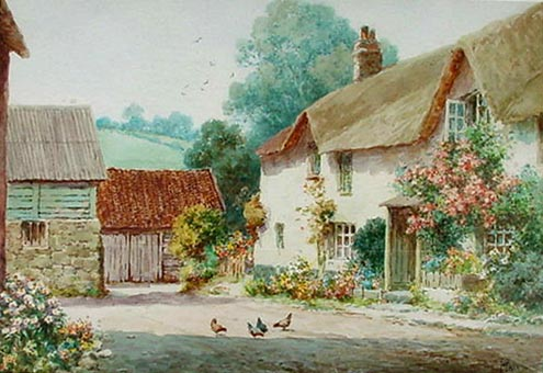 Antique watercolour of Upton Pyne near Exeter