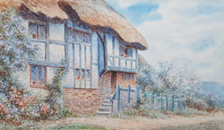 T H Victor watercolour of a Cornish Cottage