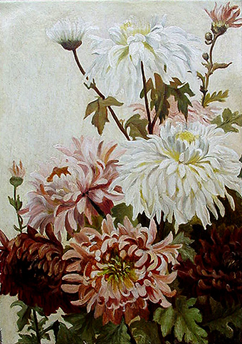 Victorian floral painting - Dahlias