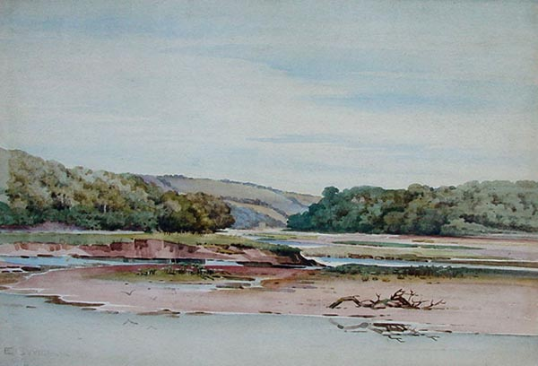 River Yealm Antique Watercolour  by George Ernest Webb