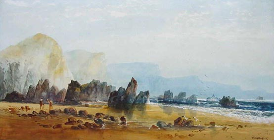 William Widgery - Antique watercolour possibly Cornish Coast