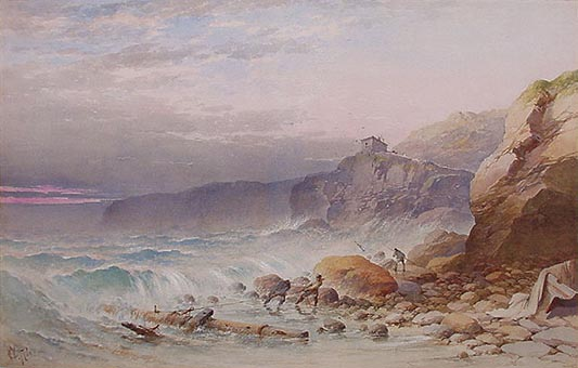 Antique Watercolou of Wreckers on the North Cornwall Coast by William Cook of Plymouth