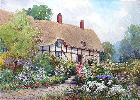 Ann Hathaways Cottage Antique Painting William Outhwaite