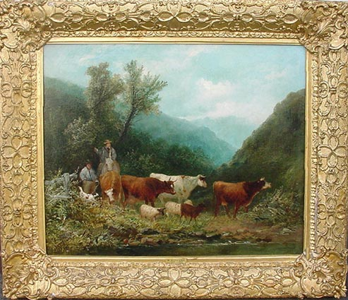 William Widgery Antique Oil Painting - Cattle ad Farmer crossing moorland river
