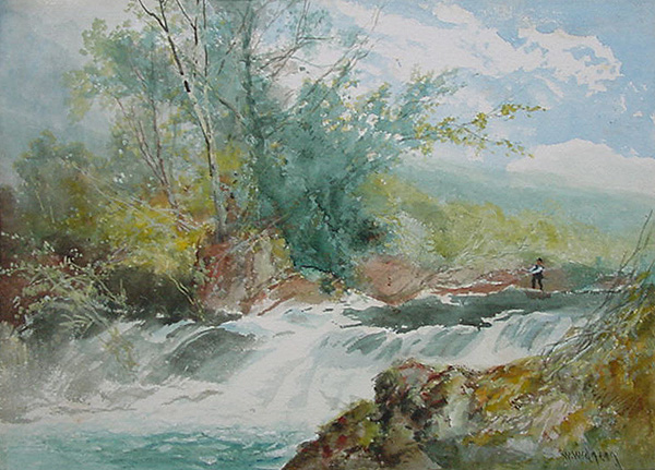 William Widgery - Dartmoor River with Angler