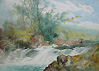 William Widgery- Angler on a Dartmoor river- Watercolour