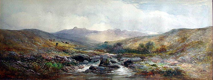 Antique Watercolour by William Widgery - Dartmoor