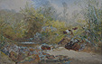 William Widgery-Figure on Horseback with cattle by a moorland river-Watercolour