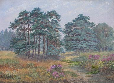 Antique watercolou painting possibly of Woodbury Common near Exeter Devon